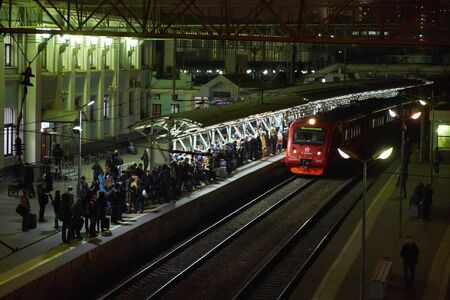 departures: Train to Sheremetyevo departures from Belorusski Train Station in Moscow Editorial