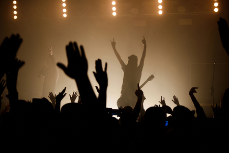spotlight: Lit silhouettes of musicians on the smoky stage raising up hand with crowd Stock Photo