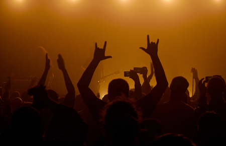 Man raising up hands with rock-n-roll gesture standing in a crowd at rock concert with musicians on the background in smoky space