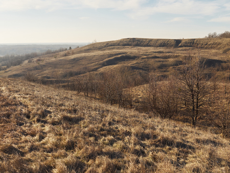 Desiccated hills with erosion on slopes covered with brown dry grass and withered sparse trees and shrub under the pale sky
