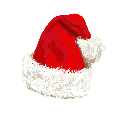 Santa Claus red hat on white background. Vector