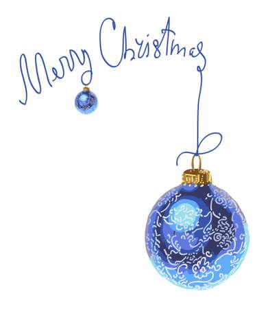 Vector postal card with blue Christmas balls