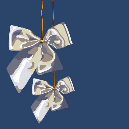Two silver ribbon bows with gold ropes on dark blue background. It may be used as decoration on Christmas and New Year's holidays