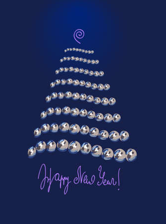 Happy New Year card - pearl Christmas tree with text on bottom and glow top Imagens - 11520187