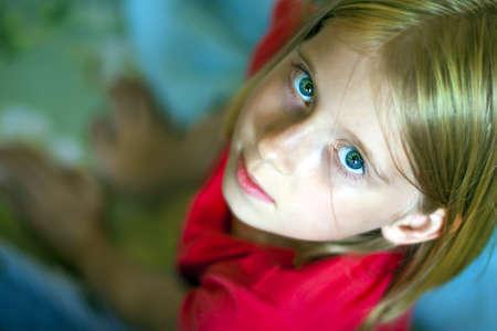 beautiful blonde girl with green eyes: School age blonde girl