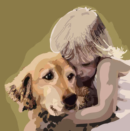 golden retriever puppy: Little child hugging a dog