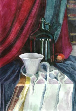 stilllife: Still-life. Watercolour. Stock Photo