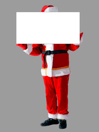 Vector Santa Claus isolated with blank banner for your business text, Background is on separate layer - can be easily changed to any color.