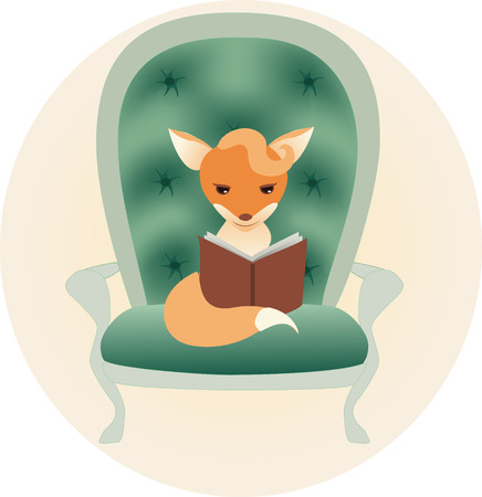 Little fox reading a book Vector
