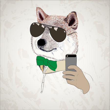 akita: dog in sun glasses with a bow taking selfie Illustration