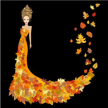 Woman dressed in autumn leaves Stock Illustratie
