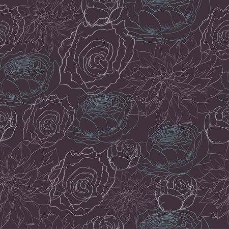 peon: Muted dark pattern with sketched roses Illustration