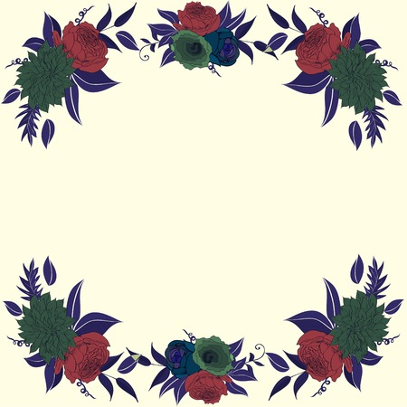 compositions: Contrast frame with flower compositions dark colors Illustration