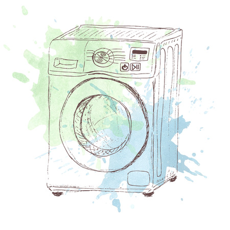 Sketch of washing mashine on watercolor splash Vector