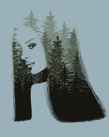 scape: Nature scape on girl portrait illustration Illustration