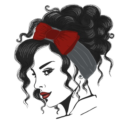 woman with undo and red headband illustration