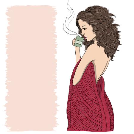 Girl drinking tea in plaid illustration