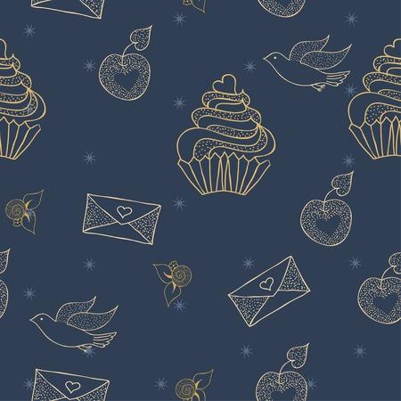 cupcake illustration: Dark soft  cupcake pattern illustration Illustration