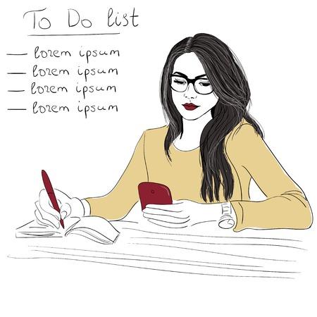 persona escribiendo: Mujer con la ilustraci�n del tel�fono inteligente fondo Vectores