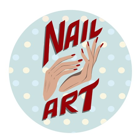 Nail art label illustration icon Vector