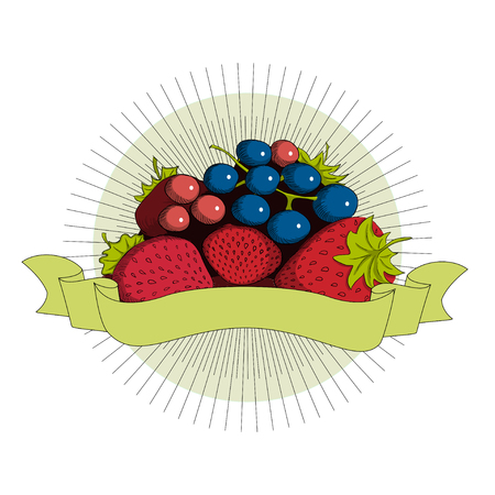 current: Strawberry and current sticker illustration