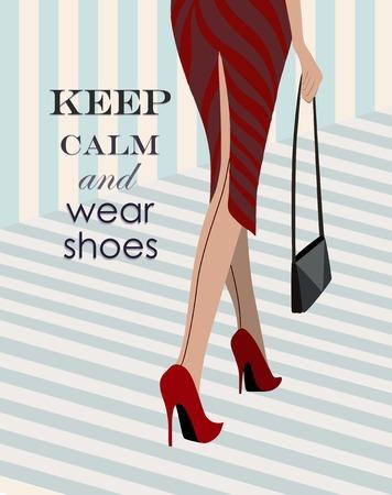 pies sexis: mujer en zapatos rojos caminando por estilo retro