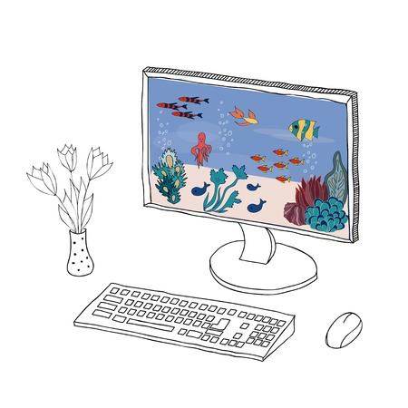 Cartoon computer with picture illustration Vector