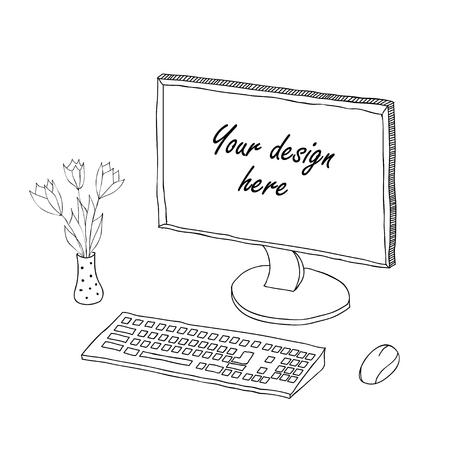 Sketch of computer work space illustration Vector