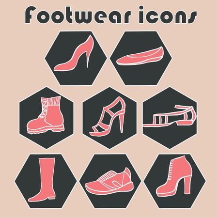 footwear: Hand drawn footwear  icons set illustration