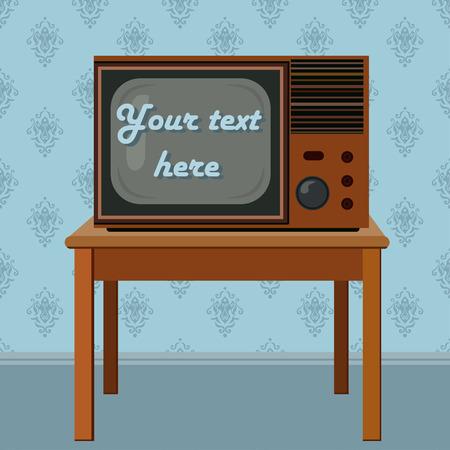 televisor: Retro flat televisor on the table illustration