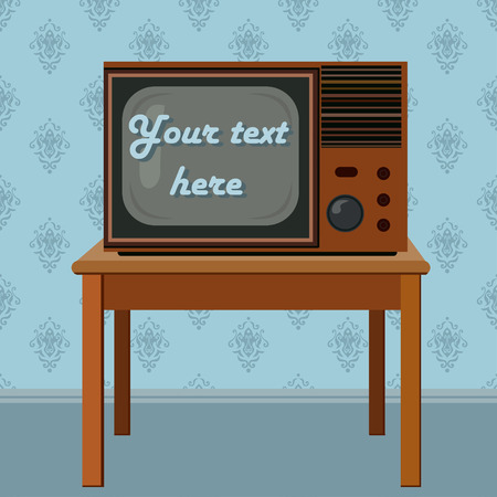 Retro flat televisor on the table illustration