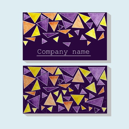 two dimensional shape: watercolor triangle business card illustration