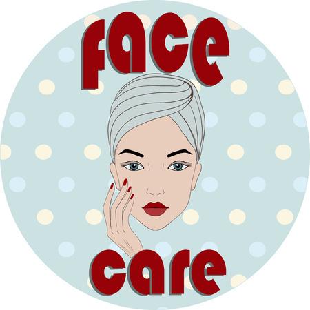 face care: Retro face care icon illustration