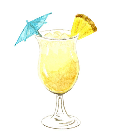 water texture: Watercolor creamy cocktail illustration background