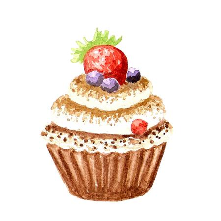 cream pie: Watercolor cupcake with berries illustration