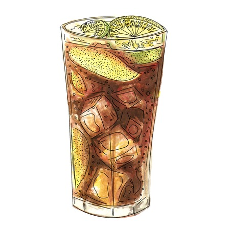 ice tea: Watercolor sketch of ice tea cocktail illustration