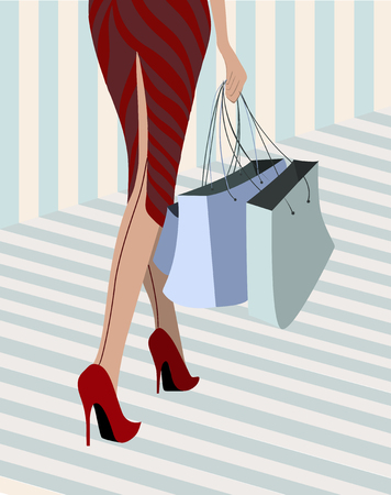 slit: woman walking down with purchase illustration