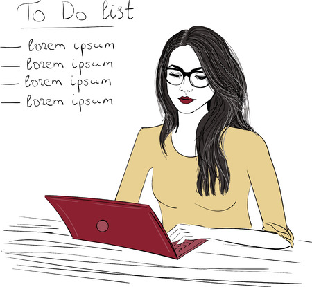 Vrouw met notitieboekje schetsillustratie Vector Illustratie
