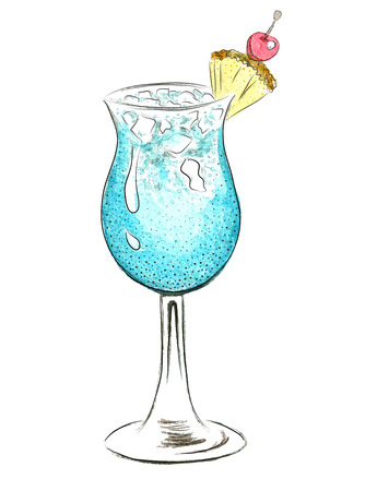 Watercolor blue doodle cocktail illustration Vector