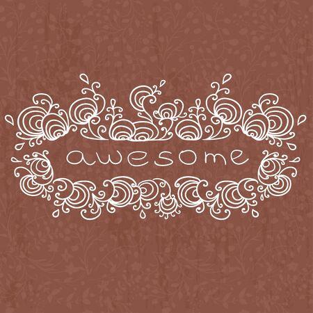 curled: doodle word in curled frame illustration Illustration