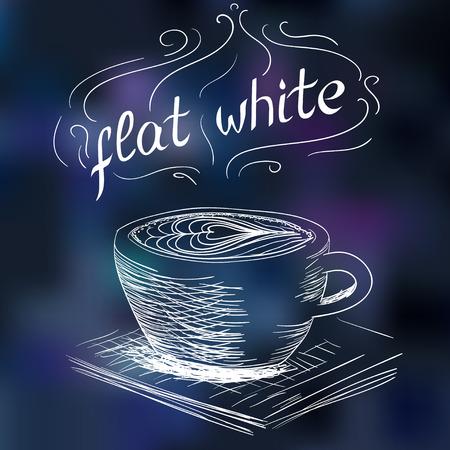 black coffee: sketch of coffee flat white illustration