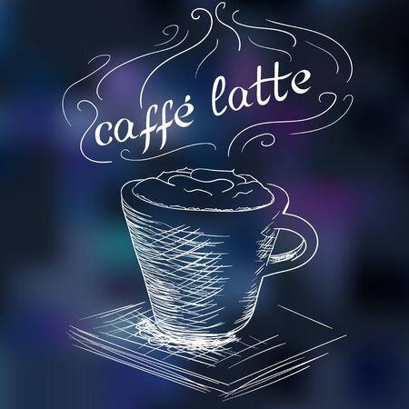 cafe latte: sketch of cafe latte illustration