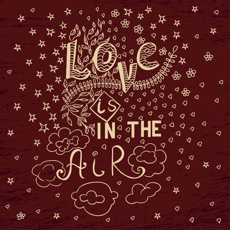 Vintage love doodle phrase illustration