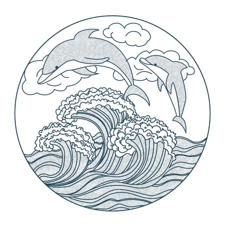 dolphin dots icon illustration outline Illustration
