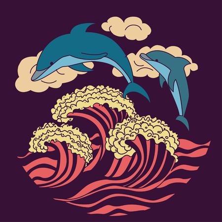 pink dolphin: dark purple dolphin icon illustration
