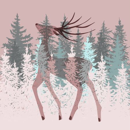 exposure: Double exposure deer in the forest illustration Illustration
