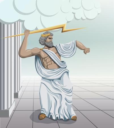 arte greca: greco antico dio Zeus illustrazione