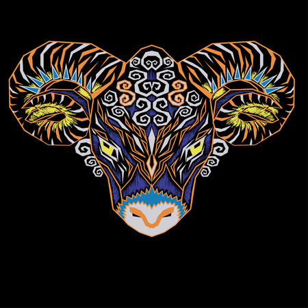 bighorn: Colorful geometric front ram illustration
