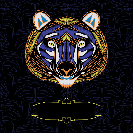 carnivores: Geometric  colorful front bear template illustration