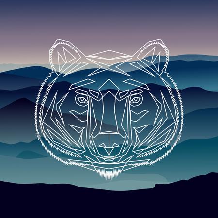 Geométrica frente ilustración oso fondo
